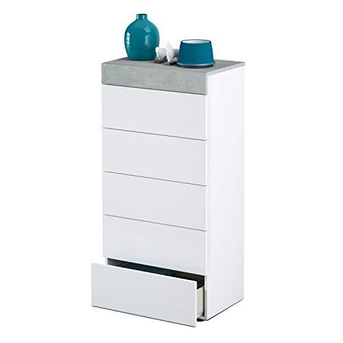 Comoda 5 cajones, Sinfonier Dormitorio, Modelo Tekkan, Acabado en Color Blanco Artik y Gris Cemento, Medidas: 61 cm (Ancho) x 118 cm (Alto) x 40 cm de (Fondo)