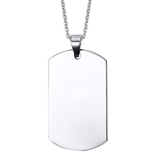 Nanafast Collar con colgante de acero inoxidable grabado con cadena de 60,96 cm