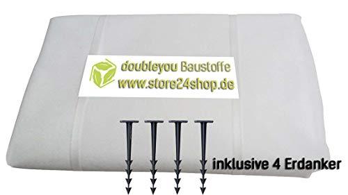 Doubleyou Geovlies & Baustoffe Unkrautvlies Weiss mit4 Erdankern gratis XXL 3,20 x 3,20 m Weiss - Schutzvlies für Sandkasten und 4 x Erdanker