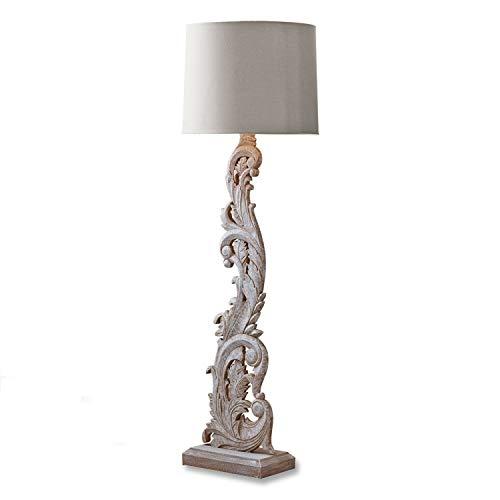 Loberon Stehlampe Talisha, Baumwolle, Paulowniaholz, H/B/T/Ø 153/35 / 20/48 cm, braun, E27, max. 60 Watt, A++ bis E