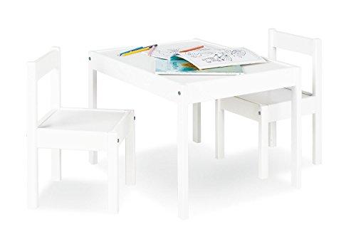 Pinolino Sina - Juego de mesa y 2 sillas infantiles (parcialmente macizo, mesa de 64 x 50 x 46 cm, sillas de 28 x 30 x 51 cm, ideal para manualidades), color blanco