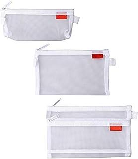 shiyi 3個セット メッシュペンケース, ジッパーフォルダーバッグ 文房具 小物入れ 大容量 (ホワイト)
