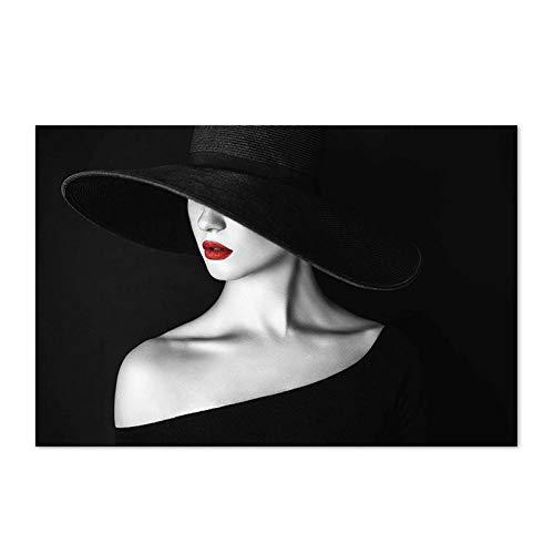VVSUN Moda Mujer Cartel de Arte de Pared Sombrero Negro Sexy Labios Rojos Lienzo Pintura Moderna Moda Negro Blanco Imagen para decoración de Sala de Estar 50x70 cm 20x28 Pulgadas sin Marco