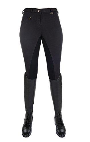 HKM Vollbesatz Reithose Wülfer X mit elastischen Beinabschluss für Damen, schwarz mit schwarzen Besatz, Größe: 42