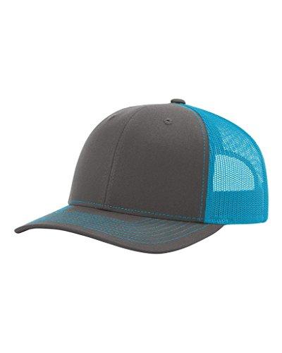 Richardson Charcoal/Neon Blue 112 Mesh Back Trucker Cap Snapback Hat
