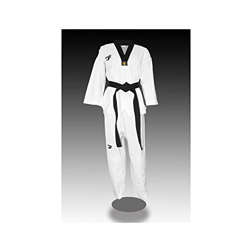 Dorawon Fight Colletto Nero Dobok Uniforme di Taekwondo, Unisex Adulto, Bianco, 150 cm