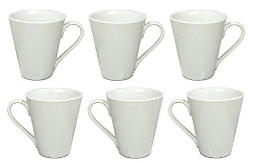 Kaffeebecher Kaffeetasse Porzellan Weiß mit Henkel 6 Stück Set Modell-Auswahl, Modell:250 ml konische Form