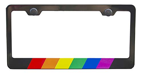 International Tie Rainbow License Plate Frame, Black High Grade 304 Stainless Steel