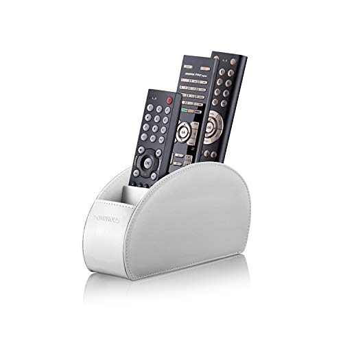 Remote Control Holder with 5 Compartments (White) – PU Leather TV Remote Organizer - Remote Caddy Desktop Organizer for TV Remote, DVD, Controllers - Media Accessory Storage & Organizer by SONOROUS