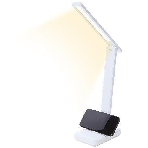 Castanino Lámpara Escritorio LED Lámpara de Mesa Flexo de Escritorio 3 Modos Brillo Regulable Lámpara Plegable con Control Táctil Luz Lectura para Estudio Oficina Luz Nocturna (con cable), Blanco