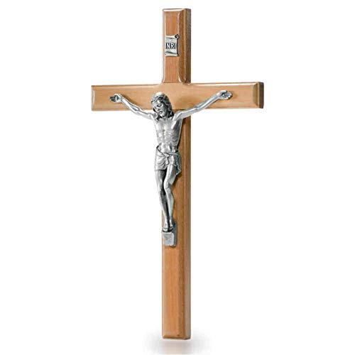kruzifix24 Devotionalien Pared Cruz Madera de Olivo Natural Crucifijo Modern Christus Cuerpo Metal Plata 16x 9cm Joyas Cruz Madera Cruz