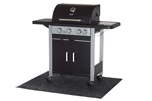 Mustang | Grillteppich | Grillschutzmatte | Bodenschutzmatte | Polypropylen | 100 x 120cm | Hitzebeständig | schwarz | Rutschnoppen
