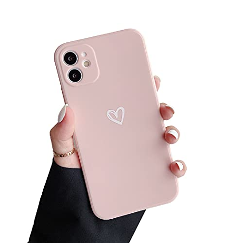 DEFBSC Liquid Silicone Case for iPhone 11 6.1 inches,Matte Surface Love-Heart Shape Cover (Skin Feeling), Soft Gel Rubber Bumper Case, Full Body Protection Case for iPhone 11 6.1-Pink