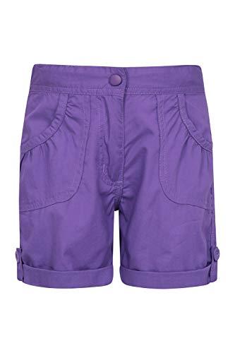 Mountain Warehouse Shore Shorts für Mädchen - Kindershorts aus 100% Baumwolle, Kurze Atmungsaktive Hose, Strand Shorts - Lässige Shorts für Den Sommer & Urlaube Dunkellila 7-8 Jahre