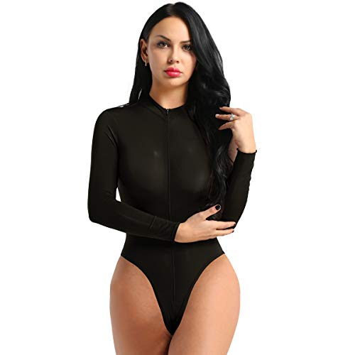 iEFiEL Damen Langarm Body mit Rollkragen Transparent Bodysuit Unterwäsche High Cut Thong Leotard Bikini Stringbody mit Zwei Reißverschluss Schwarz One Size