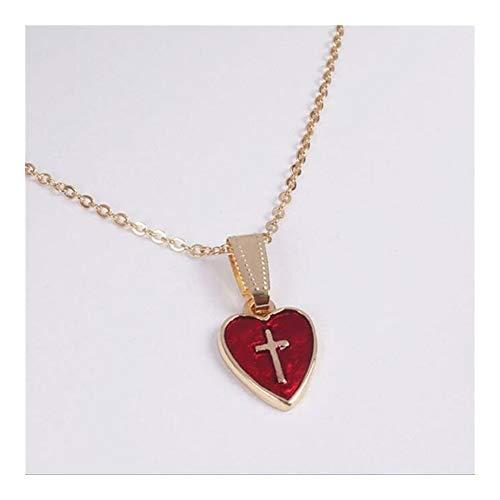 Collar con colgante de cruz de corazón rojo para mujer, amante, Jesús, cristiano, religioso, religioso