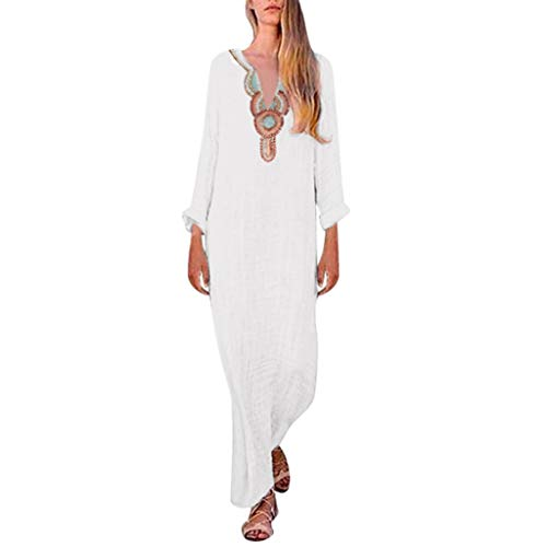 LILIHOT Langärmliges Maxikleid mit V-Ausschnitt und Schlitzsaum für Frauen Baggy Kaftan Long Dress Damen Kleider Langarm Casual Lange MaxiKleid Strandkleid Sommerkleider