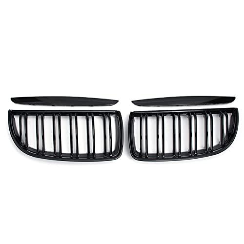 XYRDM Parrilla Ridney, Par Frontal 2 Línea Llantas Doble para BMW E39 G30 G38 F10 F11 E36 E90 E91 2005-2008 Fibra de Carbono Negro Gloss,2 Line Gloss black1