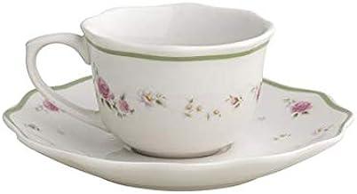 Brandani 53410 - Juego de mesa de 18 piezas, diseño de abuela rosa, porcelana, 6 pisos, 6 fondos y 6 postres Tazzine Caffe 1: Amazon.es: Hogar