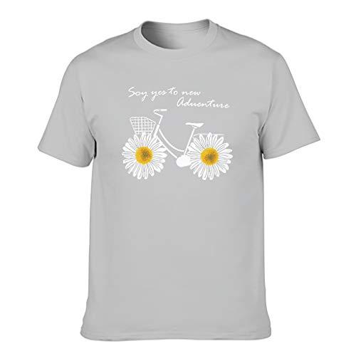 Touchlines - Maglietta da uomo con scritta in lingua inglese 'Fun Daisy Bicicletta Avventura' Argento L