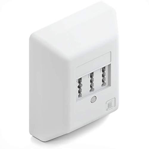 deleyCON Telefondose TAE NF/F Aufputzdose Anschlussdose NFF 2X Telefon + 1x Nebenstelle Telefon Fax Anrufbeantworter Modem NTBA DSL-Splitter Weiß