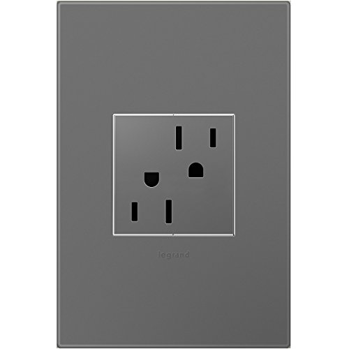 Legrand adorne 15A Tamper-Resistant Outlet With Matching Wall Plate (Magnesium Finish), ARTR152M4WP