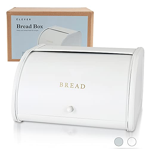 White Bread Boxes for Kitchen Counter - Farmhouse Bread Box For Homemade Bread, Sourdough Crock   Rustic & Vintage   Stainless Steel, Large Containers Storage - Matte White