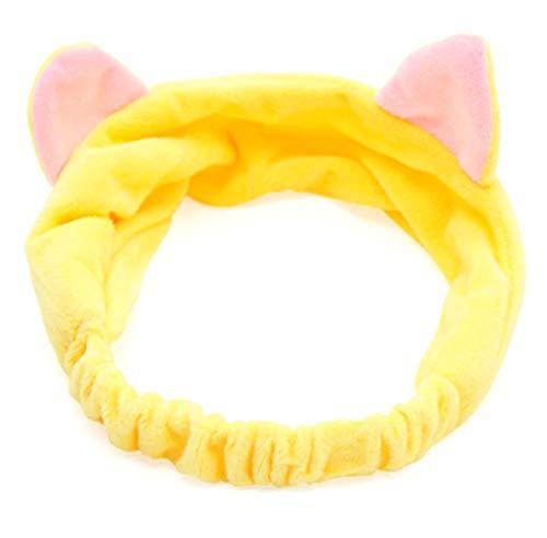 Cinta para el pelo para mujer, gato, invierno, cálida, para maquillaje, para lavar la cara, color amarillo