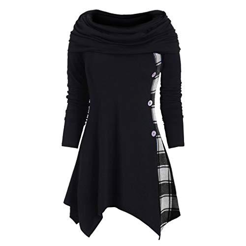 TOPKEAL Hoodie Pullover Damen Herbst Winter Langarm Plaid Kapuzenpullover Sweatshirt Rollkragen Tartan Winterpullover Hooded Jacke Mantel Tops Mode 2020 (Schwarz E, XL)