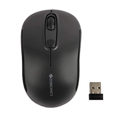 ZEBRONICS Zeb-Dash Plus 2.4 GHz Wireless Mouse with USB Nano Receiver, 4 Buttons, Power Saving Mode, for PC/Mac/Laptops (Black)