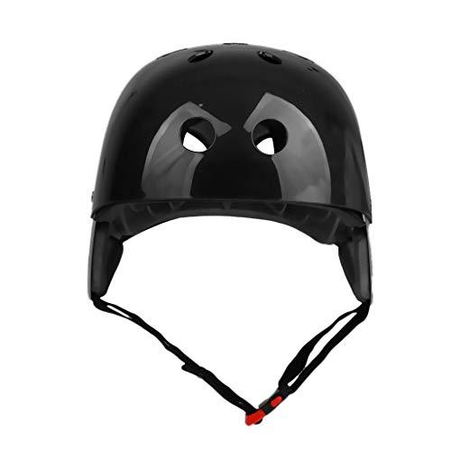 Inzopo 57–62 cm Sicherheits-Helm mit Belüftungsschlitzen und Komfort-Futter für Wasserski, Wassersport, Wakeboarding, Kiteboarding, Kajakfahren, Bootfahren, Kopfschutzausrüstung, CE-geprüft, schwarz