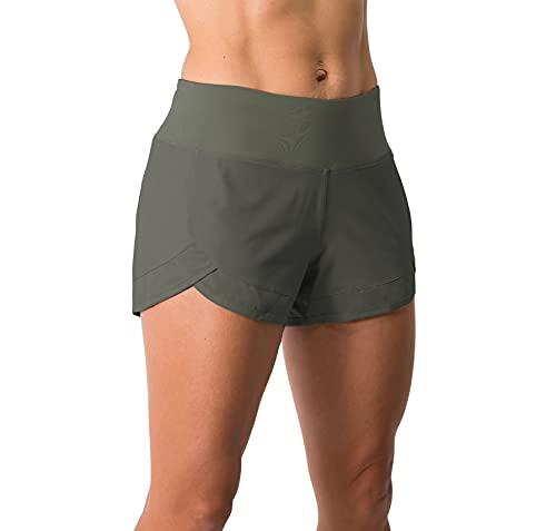 Tough Mode Apparel Womens Lightweight Running WOD Volleyball Shorts Workout Mesh Liner Zip Pocket