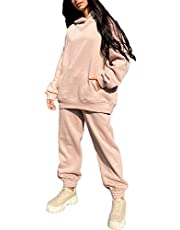 ASKSA Trainingspak voor dames, vrijetijdspak, sportpak, capuchontrui, sweatshirt en lange broek, sportswear, 2-delige set, kledingset, sport, hoodie, joggingpak