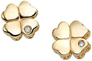 14k Yellow Gold 0.01ctw 1 Millimeters Diamond 4 Leaf Clover Stud Earrings