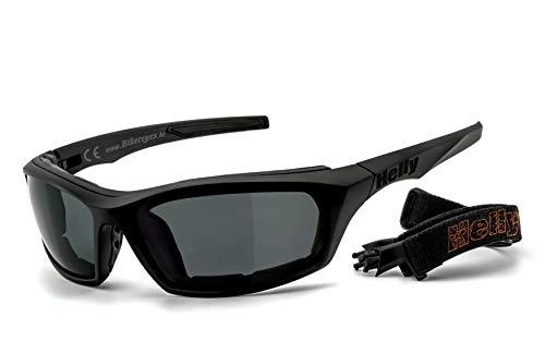 HELLY® - No.1 Bikereyes® | Motorradbrille, Multifunktionsbrille, Bikerbrille | beschlagfrei, winddicht | HLT® Kunststoff-Sicherheitsglas nach DIN EN 166 | Bügel & Band wechselbar| Brille: i-stealth