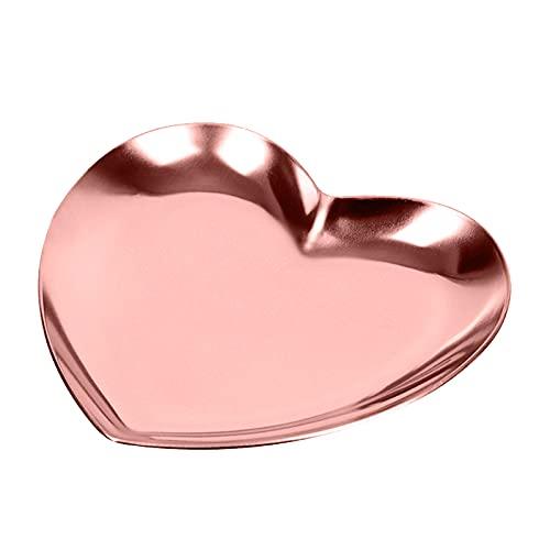 LACKINGONE Bandeja en Forma de Corazón Bandeja para Joyas, Comésticos Organizador de Acero Inoxidable Decorativo Almacenamiento para Joyas y Maquillajes Plato para Boda (Oro)