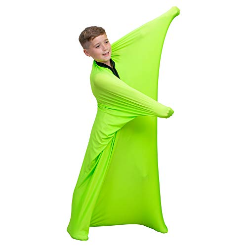Special Supplies Green Sensory Body Sock Full-Body Wrap to Relieve Stress, Stretchy, Breathable Cozy Sensory Sack for Boys, Girls, Safe, Comfortable, Calming Relief Cocoon (Medium 47'x27')