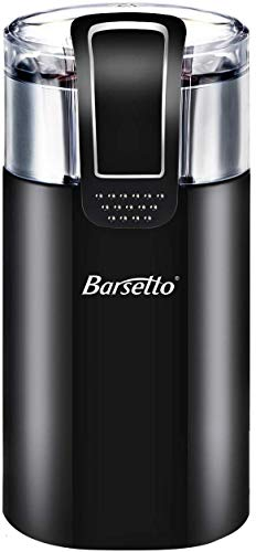 Coffee Grinder Electric, Barsetto 150W Stainless Steel Blade Grinder with 60g Large Grinding Capacity for Coffee Beans, Spices, Nuts and Grains Black