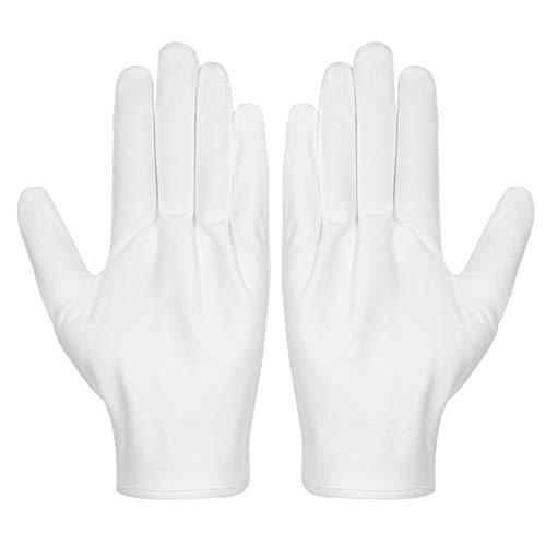 Cotton Gloves, Selizo 3 Pairs White Cotton Gloves Coin Gloves for Women Men Eczema Dry Hands Moisturizing Serving Archival Cleaning Jewelry Silver Inspection