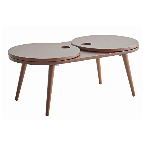 Benjara Mesa de centro de madera con 2 mesas redondas Lady Susan Shevles, marrón oscuro