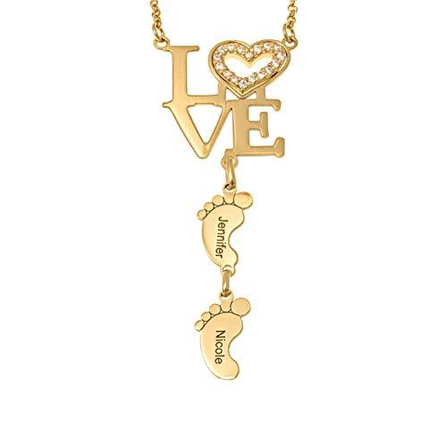 Collar con nombre personalizado collar familiar colgante de amor y pie collar de promesa de madre aniversario para mujer(Dorado 18)
