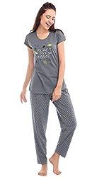 ZEYO Womens Cotton Star Print Night Suit