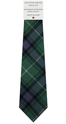 I Luv Ltd Cravate en Laine pour Homme Tissée et Fabriquée en Ecosse à MacDonald Of The Isles Green Ancient Tartan
