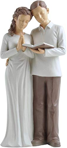 Treasured Moments Husband & Wife Praying Couple Hand Painted Sculpture Figurine - Gifts for Wedding Anniversary, Couples, Husband Wife and Vow Renewal