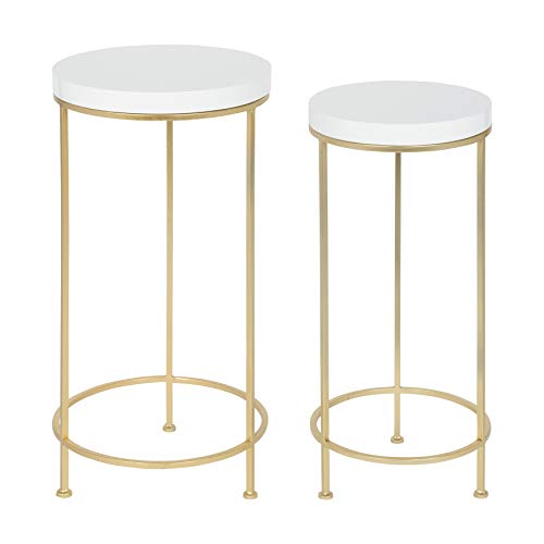 Kate and Laurel Espada Metal and Wood Nesting Tables 2 Piece Set, White Top with Gold Base