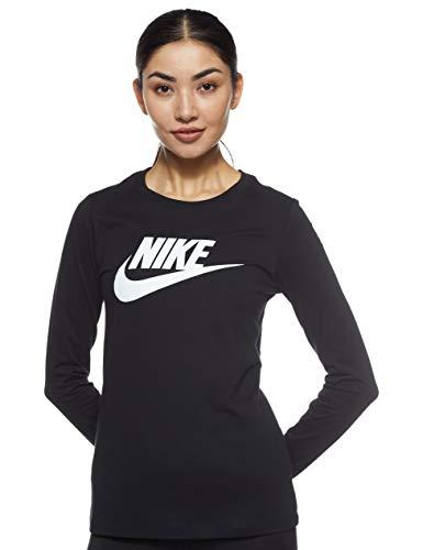 NIKE W NSW tee Essntl LS Icon Ftra Camiseta de Manga Larga, Mujer, Black/White, M