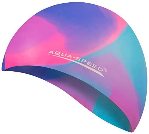Aqua Speed wasserdichte Badekappe | Damen & Herren I Sport Bademütze | Schwimmen Badehaube | Schwimmhaube für Erwachsene Kinder I Silikon I 48. Bunt + Kleines Mikrofasertuch - 45