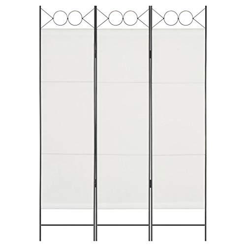 vidaXL Raumteiler 3-TLG. Klappbar Paravent Trennwand Umkleide Sichtschutz Spanische Wand Raumtrenner Raumtrennwand Schlafzimmer Weiß 120x180cm