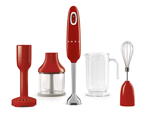 Smeg HBF02RDUK Hand Stick Blender with Innovative FlowBlend System, Stainless Steel Blade, Variable Speed, Turbo Button, Includes Chopper, Whisk, Beaker and Potato Masher Attachments, 700 W, Red