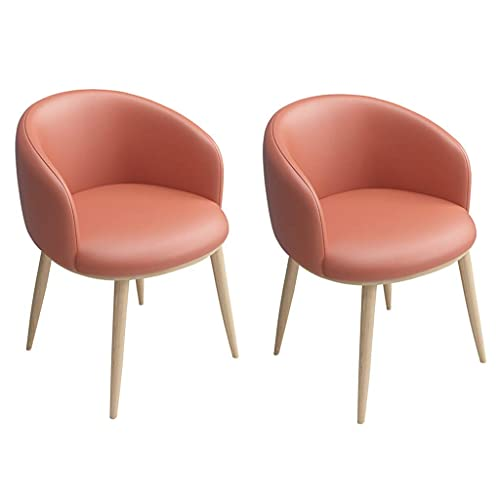 HYRGLIZI Dining Chairs Set of 2, Anti-Dirty PU Leather Side Chairs Mid Century Modern Kitchen Room Chairs Upholstered with Sturdy Wood Legs (Color : Orange)